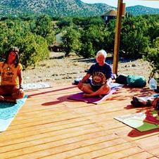 Outdoor morning yoga at Shanti