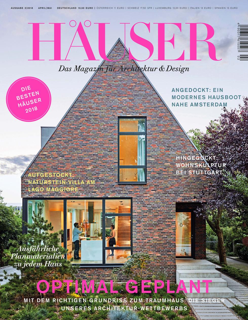 """Veröffentlichung in dem Magazin """"HÄUSER"""", 2018 Projekt Haus T 1. Preis"""