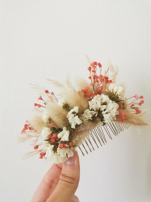 Peigne à cheveux fleurs séchées