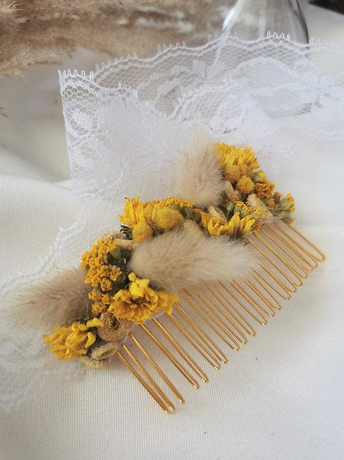 Peigne à cheveux fleurs séchées - Jaune