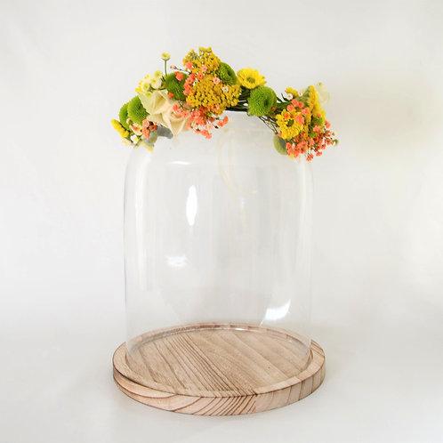 Couronne de fleurs fraîches   Jaune et orange