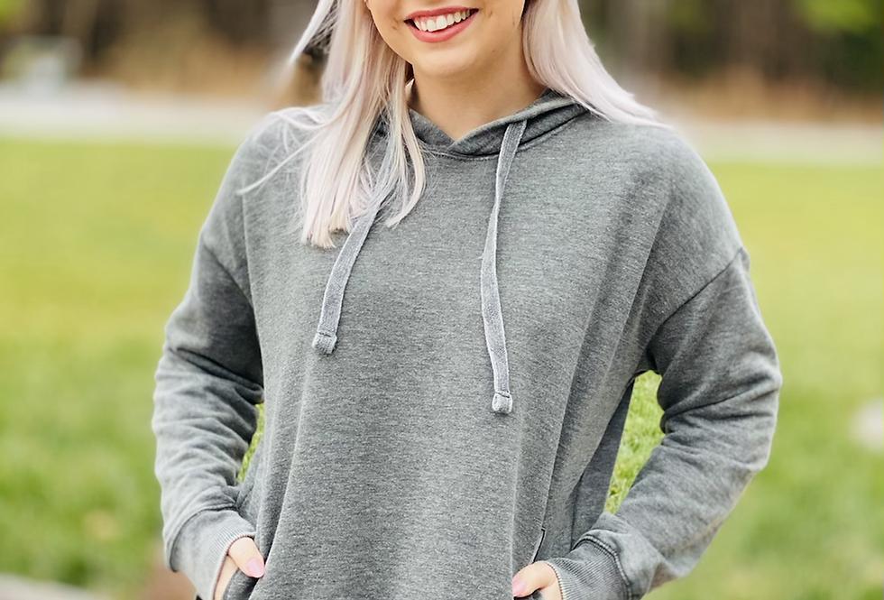 Fan Fav Distressed Hoodie in Grey