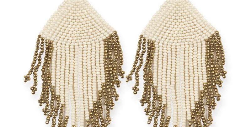 Ivory and Gold Fringe Earrings