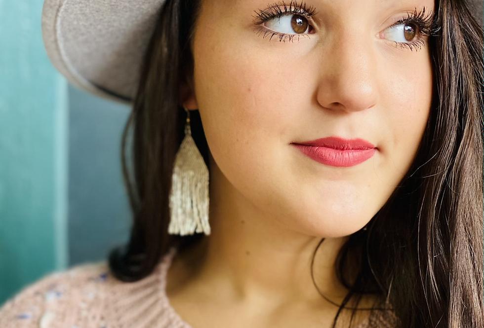 In Full Swing Beaded Tassel Earrings in Cream