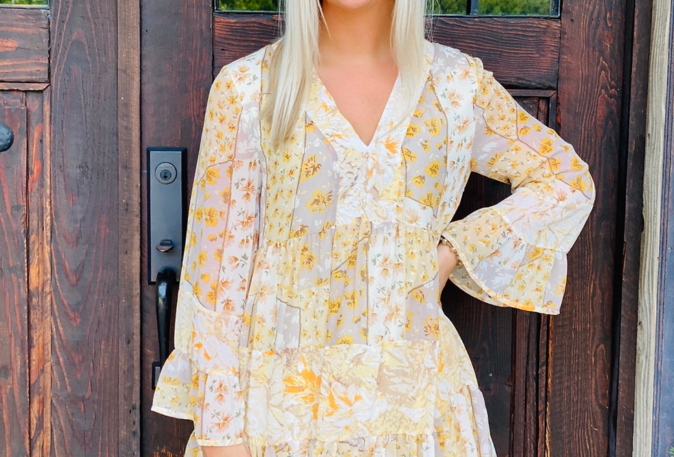 Flirty Floral Dress in Yellow