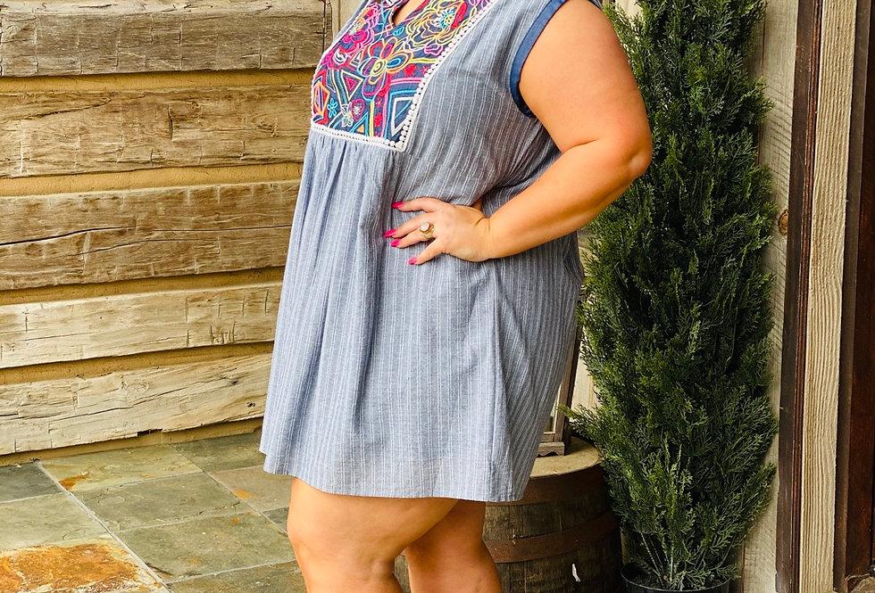 Denim Floral Dress Curvy