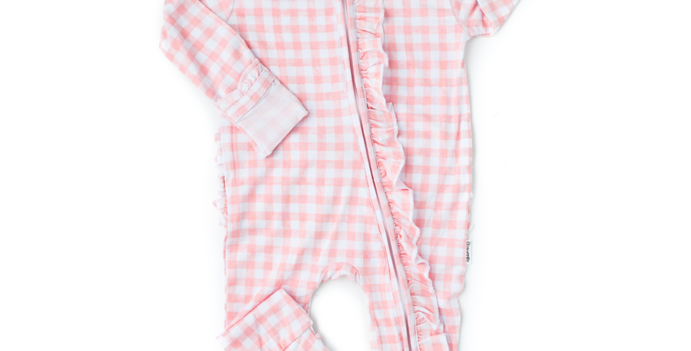 Pink Gingham Zipper Coverall