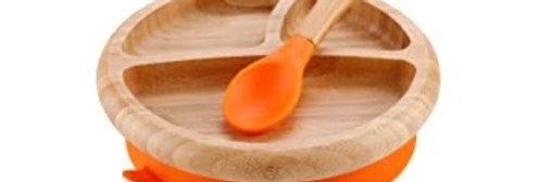 Bamboo Plate & Spoon Set (orange)