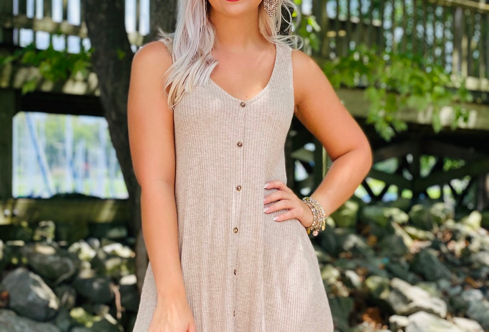 Tan Dress with Buttons
