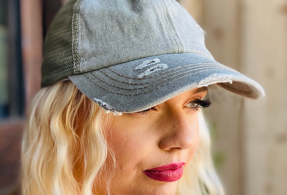 Distressed Baseball Cap in Olive