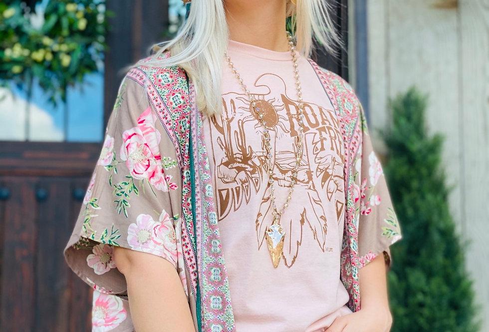 Tan Rose Kimono