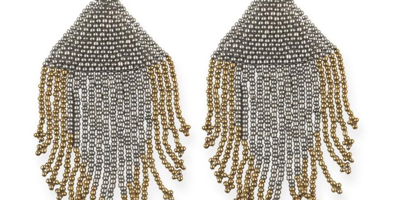 Silver and Gold Fringe Earrings