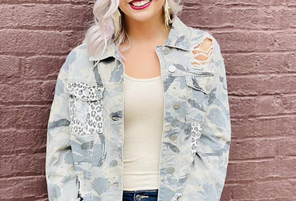 Ripped Apart Distressed Camo Jacket