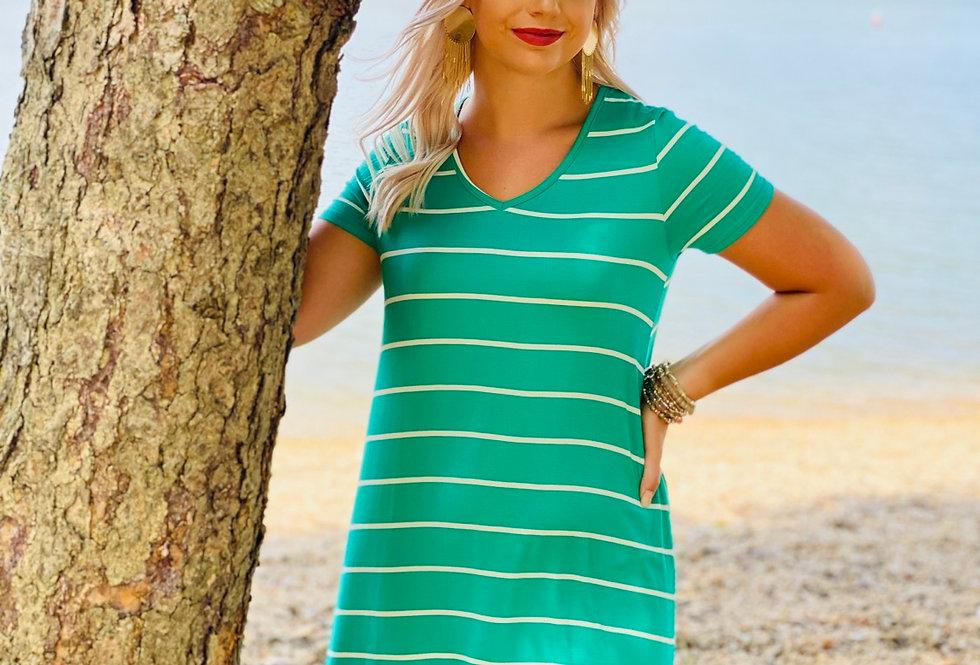 Kelly Green Striped Tshirt Dress
