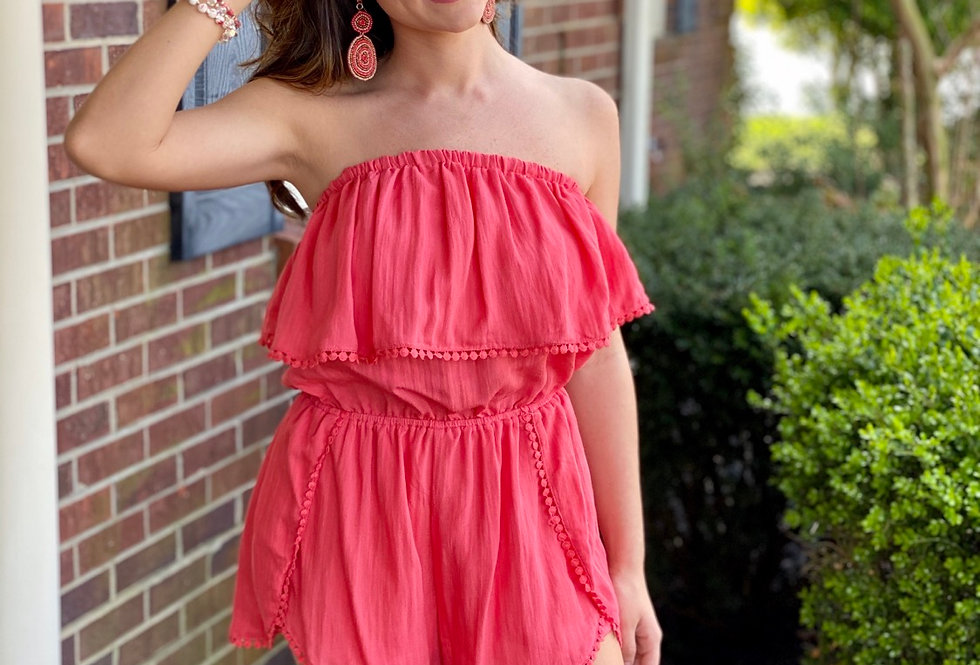 Coral Sleeveless Romper