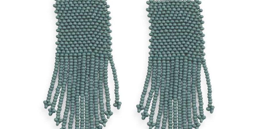 Teal Beaded Earrings
