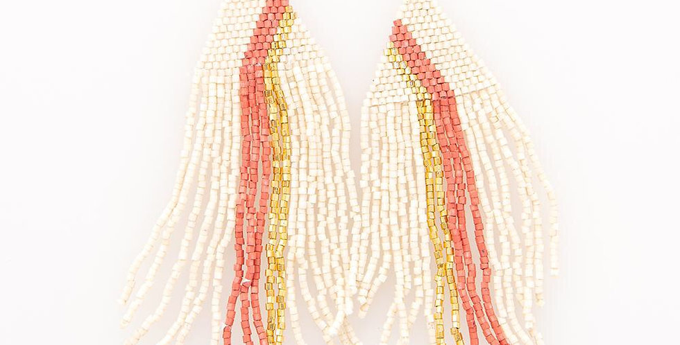 Cream/Gold/Pink Beaded Earrings