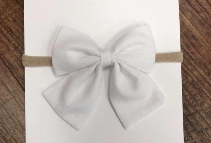 White Headband Bow
