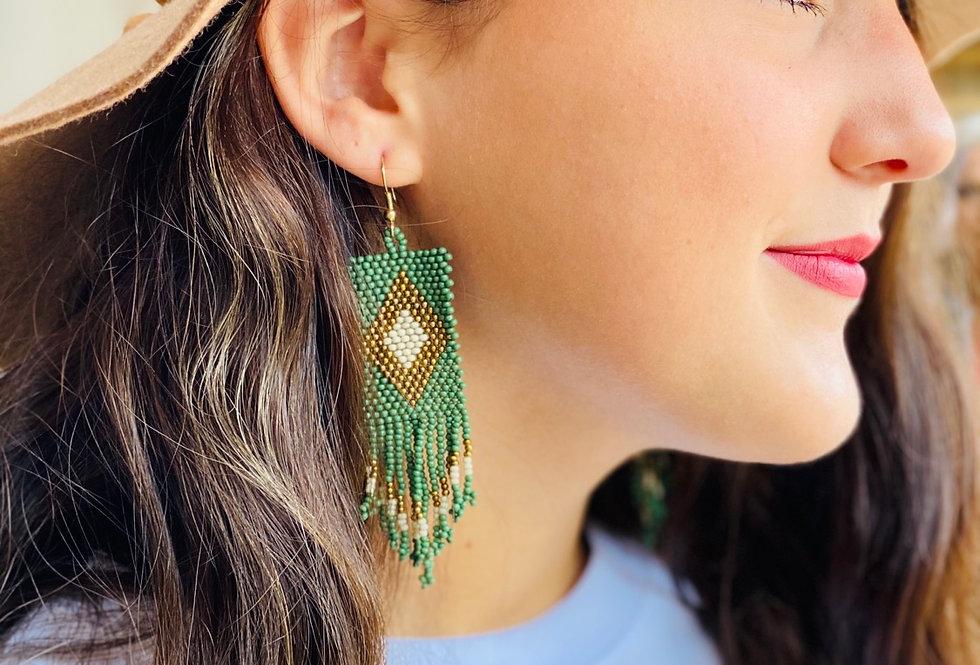Emerald Fringe Earrings
