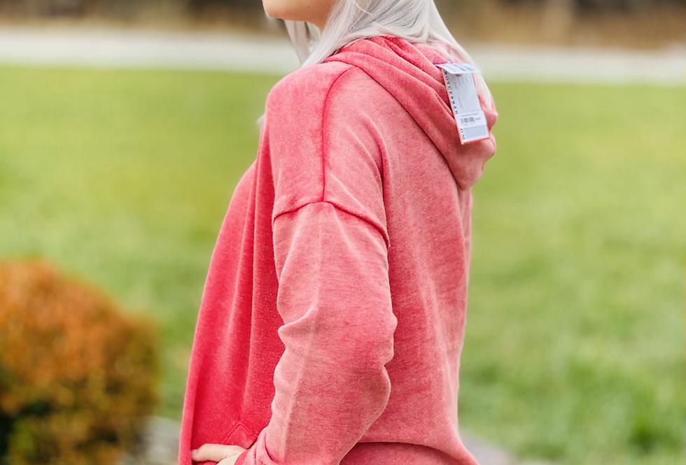 Fan Fav Distressed Hoodie in Red