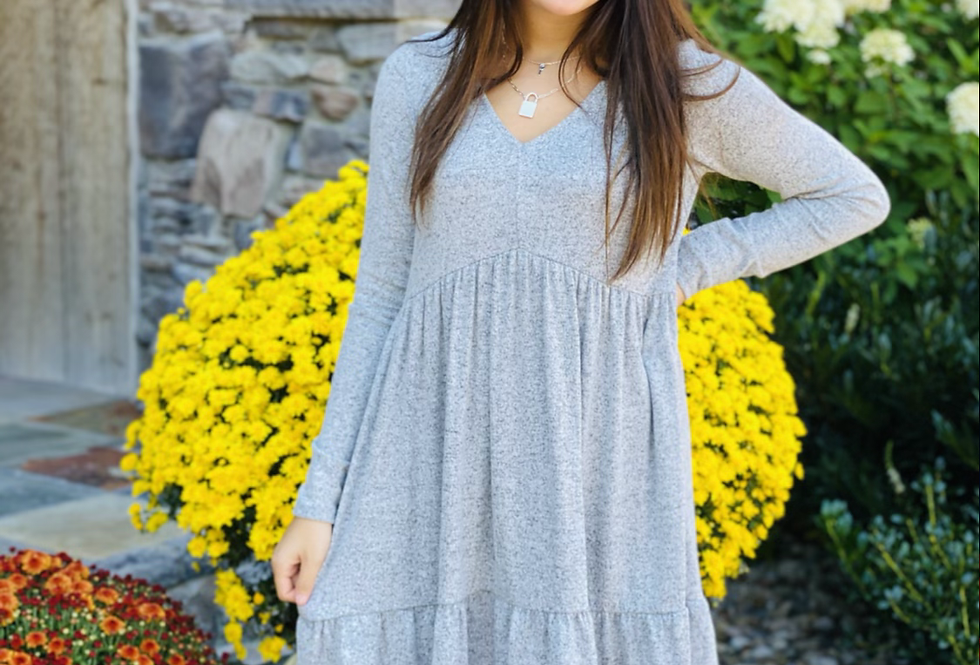 Perfectly Sweet Dress in Grey