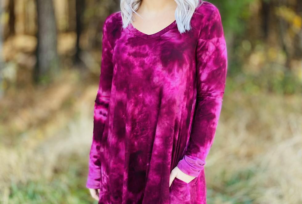 Instant Obsession Maroon Tie Dye Dress