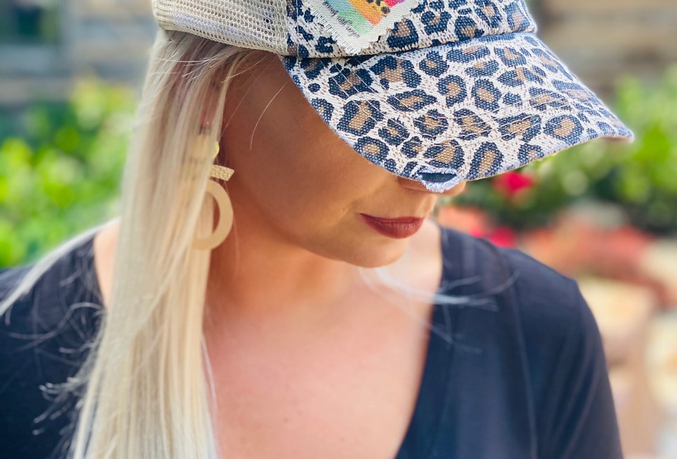 Embroidered Rainbow Cheetah Hat