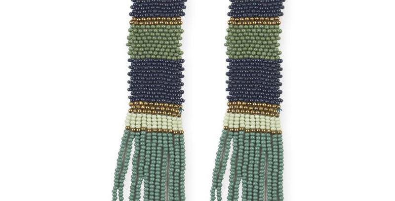 Green/Teal Multi Color Beaded Earrings