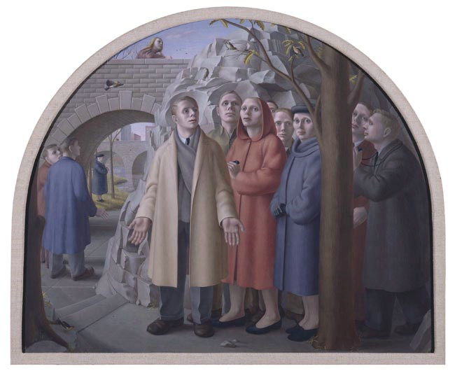 The Bird Watchers of Central Park by George Tooker (1948)