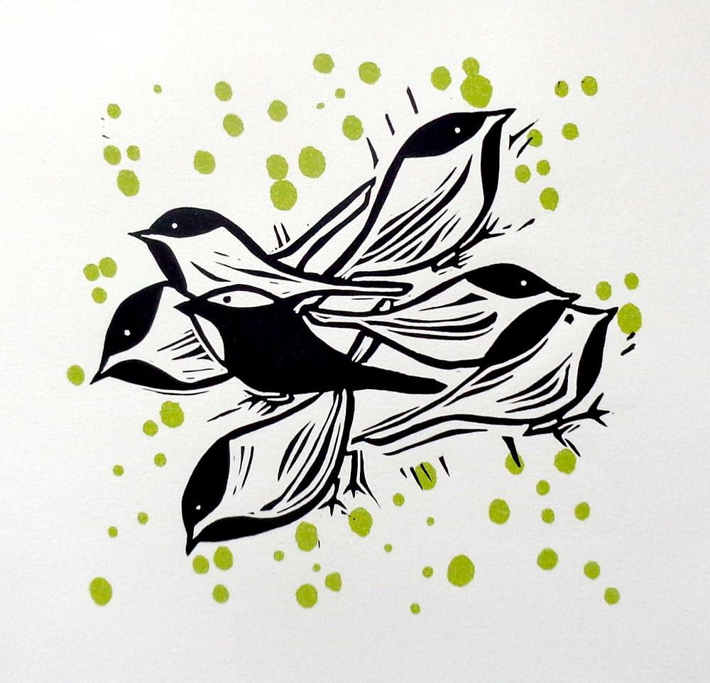 Black-capped Chickadees by Judy Ryan