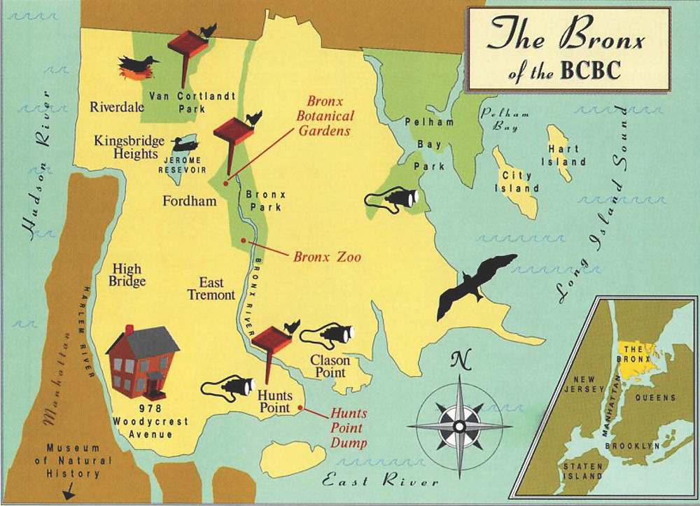 Map of the Bronx Birding Spots in 1930