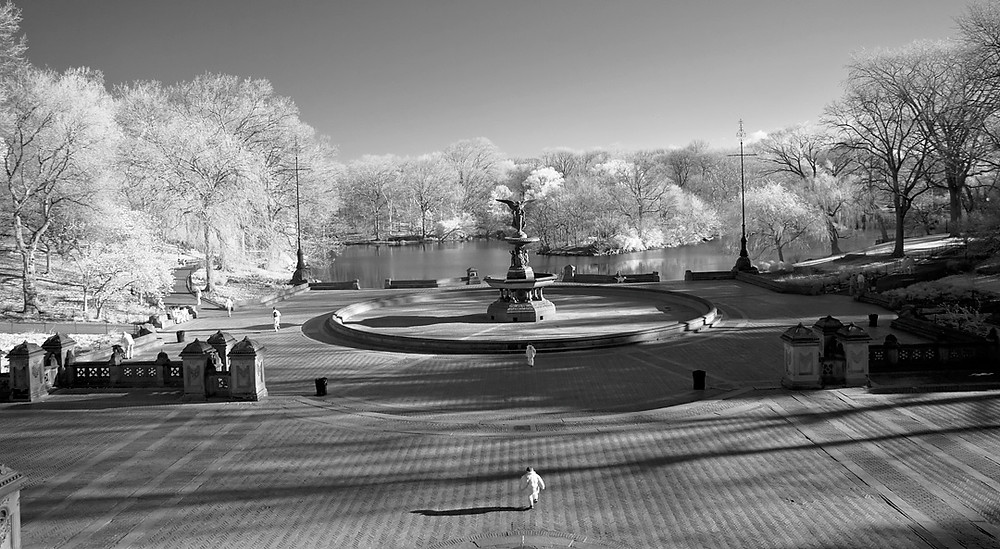 Bethesda Terrace (Central Park) in April 2009 - Black-and-white Infra-red image