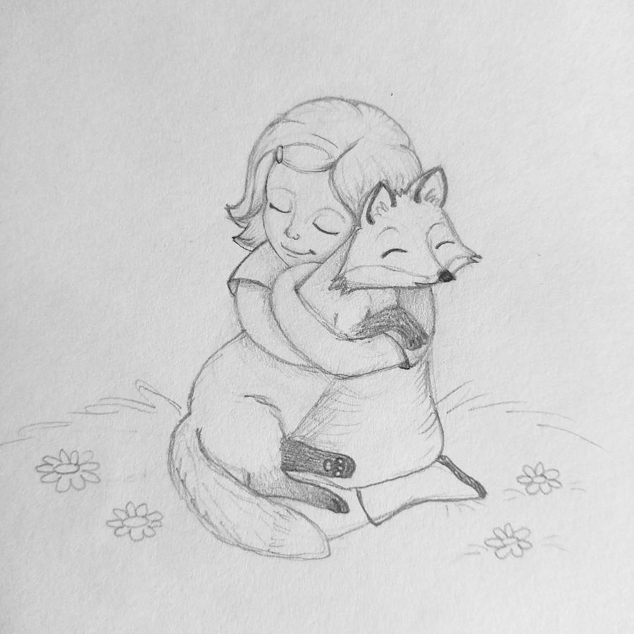 Tabitha and Juniper Fox. Faerie Sarah Art