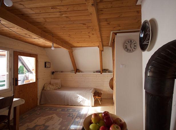 RabunaDesign interior design Prague wooden summer house cottage living room cabin hygge Czech