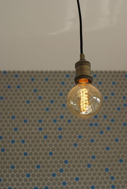 industial light interior design czech prague penny tile mosaic kitchen