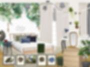 návrhy interiéru dívčí dětský holčičí pokoj pokojík zelená bílá modrá