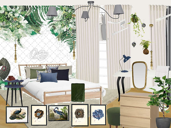 interior design kid's girl's room blue green white Czech Prague