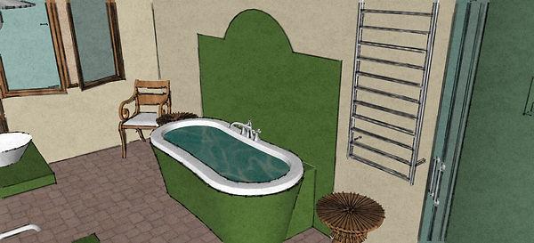 RabunaDesign návrhy interiéru zelená koupelna