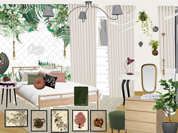 girl's kid's room design interior Prague Czech green white pink