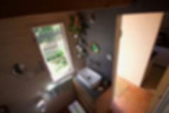 návrhy interiéru RabunaDesign dřevěná chata koupelna scandi venkovský venkov rustikální