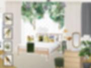 návrhy interiéru holčičí dívčí dětský pokoj pokojík zelená bílá žlutá