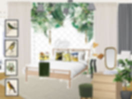 interor design Prague Czech kid's girl's room green white yellow