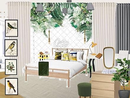 interor design Prague Czech kid's girl's room green white yellow