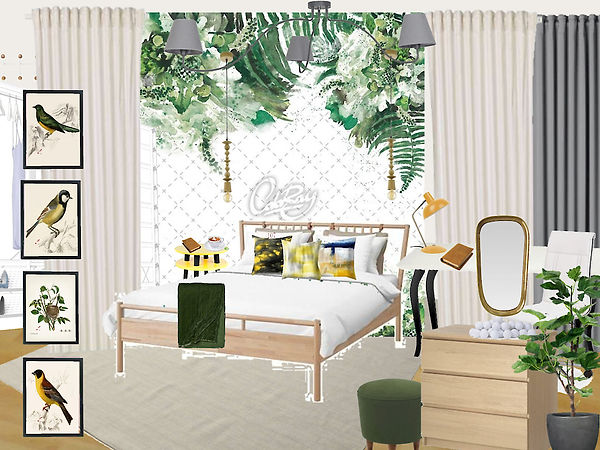 interior design kid's girl's room green white yellow Prague Czech
