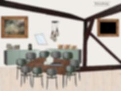 Conference room moodboard - framed  TV interior dessign office attic
