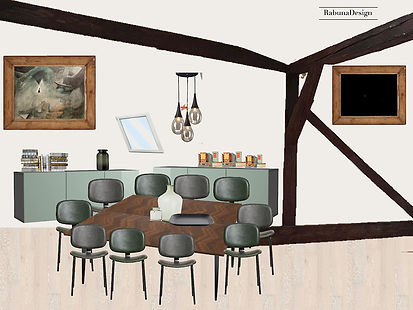 Conference room moodboard - framed  TV interior dessign office attic