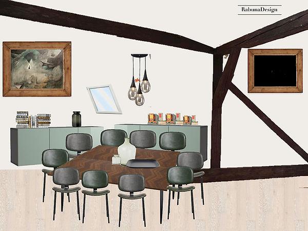 Zasedací místnost - rám TV kancelář návrhy interiéru interiérový design