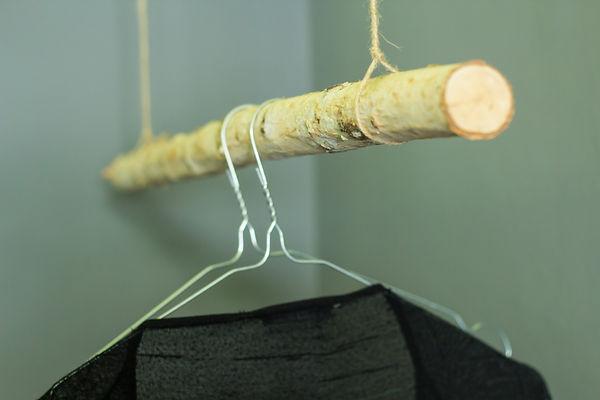 interior design Prague Czech detail clothes hanger branch natural birch wire