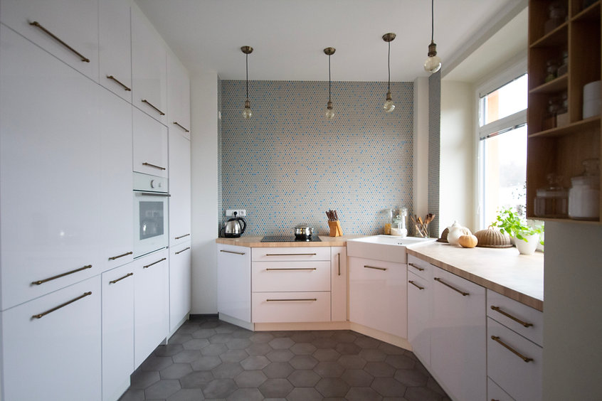 brass white kitchen  interior design czech prague