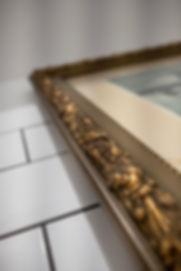 interior design czech prague subway tiles white bathroom restroom powderroom antigue vintage frame picture decoration styling